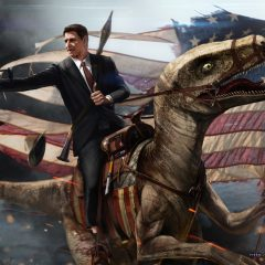 A Badass Painting of Ronald Reagan Riding A Velociraptor [Photo]