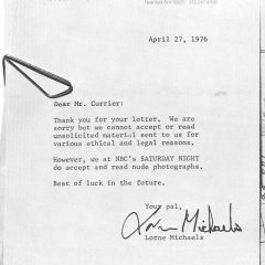 A Rejection Letter From Lorne [Photo]