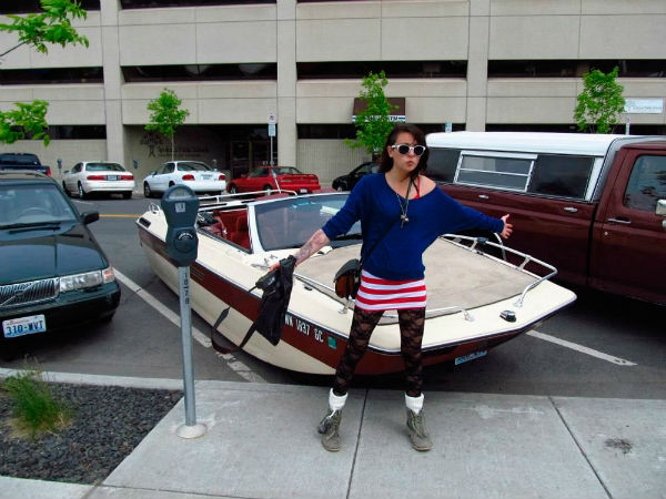 boat in a parking space