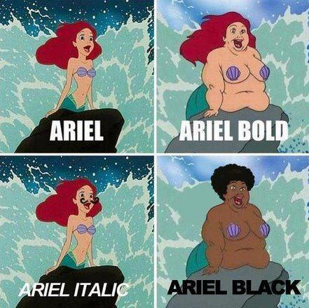 Arial, The Little Mermaid, as a font