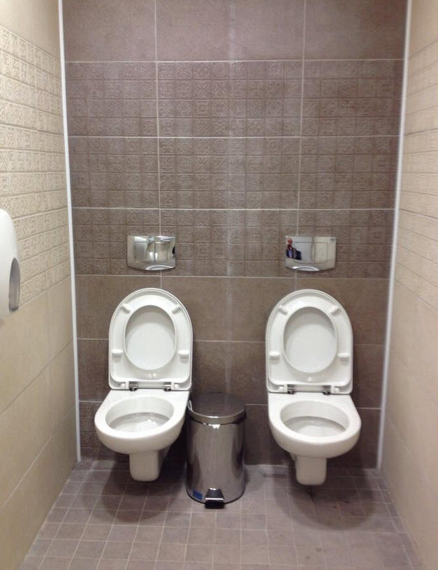 side by side toilets at Sochi Olympics Olympic Biathlon Centre