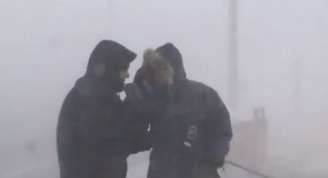Weather Network reporters in a blizzard