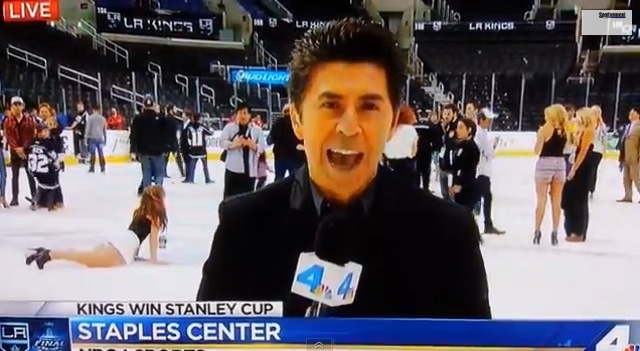 woman falls after Los Angeles Kings win