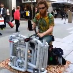 Pipe Guy Plays Techno Music with Pipes and Sandals
