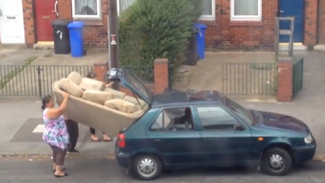 large couch into small car