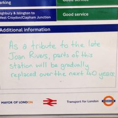 Tribute to Joan Rivers in London Subway